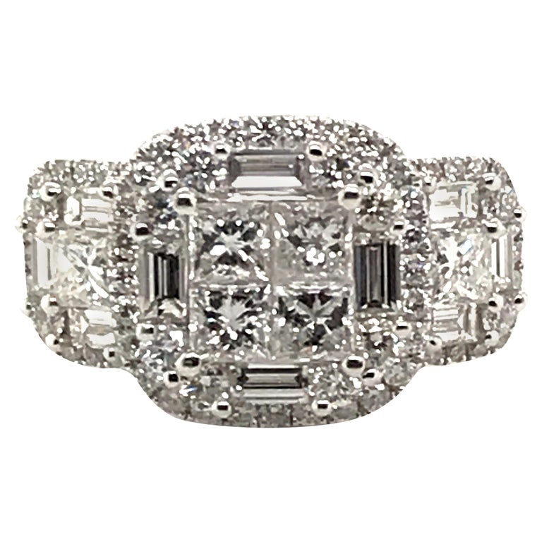 2.45 Carat Princess Cluster Diamond Ring with Baguettes and Rounds For Sale