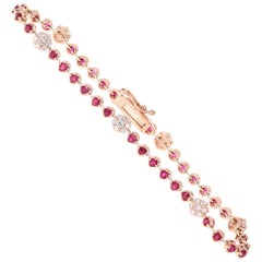 2.45 Carat Ruby Diamond Bracelet 14 Karat Rose Gold