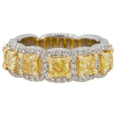 2.45 Carat Yellow and White Diamond Halo Ring 18 Karat in Stock