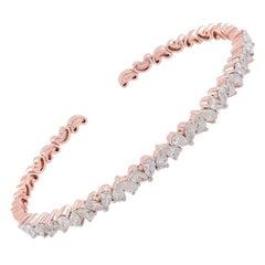 2.45 carats Pear Diamond 14 Karat Gold Eternity Bangle Bracelet Cuff