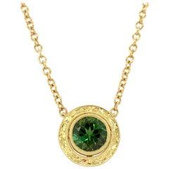 2.45 ct. Green Tourmaline Yellow Gold Bezel Engraved Round Pendant w/ Chain