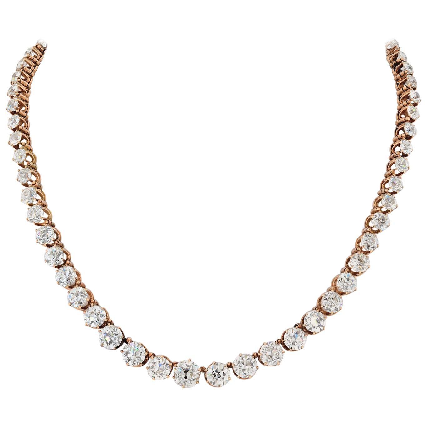24.50 Carat 14 Karat Rose Gold Old Mine Diamond 1900s Rivere Necklace