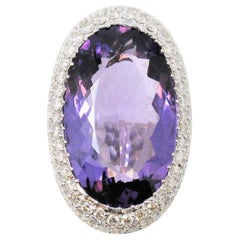 24.54 Carat Total Oval Amethyst with Pave Diamond Halo Cocktail Ring White Gold