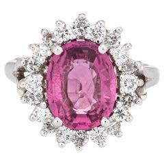 2.45ct Pink Tourmaline Diamond Ring Vintage 14k White Gold Cocktail Jewelry 5.25