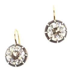 2.46 and 2.55 Carat Antique Style Old European Cut Diamond Drop Earrings