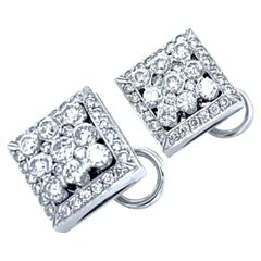 2.46 Carat 18 Karat Invisible/Pave Set Diamond Earring