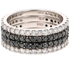 2.46 Carat Black and White Diamond 14 Karat White Gold Band