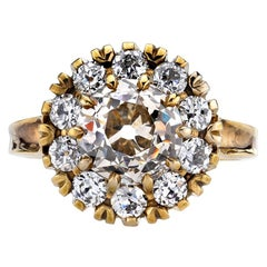 2.46 Carat Brown/VS Old Mine Cut Diamond with 0.75 Carat Diamond Surround Ring