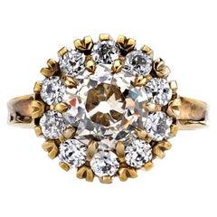 2.46 Carat Brown/VS Old Mine Cut Diamond with 0.75 Carat Diamond Surround Ring