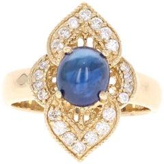 2.46 Carat Cabochon Sapphire Diamond 14 Karat Gold Ring