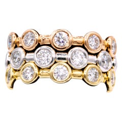 2.46 Carat Diamond Tri-Color Stackable Rings