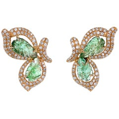 2.46 Carat Emerald Carving and Diamond Stud Earring