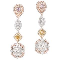2.46 Carat, Fancy Colored Diamond and Fancy Shape Diamond Dangle Earrings