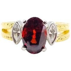 2.46 Carat GIA Certified Mogok AAA Red Spinel .12 Diamond Ring Platinum 18KY