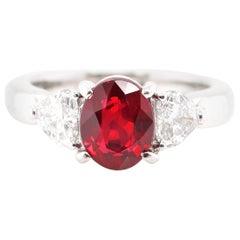 2.46 Carat Pigeon's Blood Burmese Ruby and Diamond Ring Set in Platinum