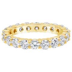 Roman Malakov 2.46 Carat Round Diamond Eternity Wedding Band in Yellow Gold
