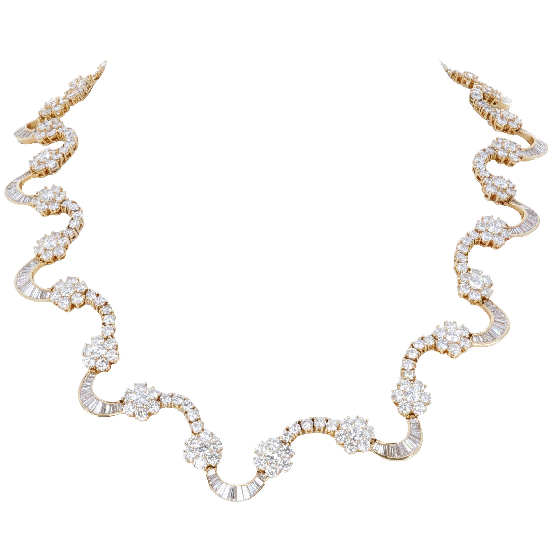 24.65 Carat Yellow Gold Diamond Link Necklace