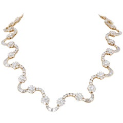24.65 Carat Yellow Gold Diamond Link Necklace