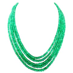 247 Carat 5 Layer Natural Brazilian Emerald Bead Necklace Sterling Silver Clasp
