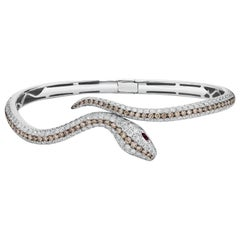 2.47 Carat Diamond and 0.04 Carat Ruby Snake, Snake Diamond and Ruby Bracelet