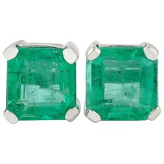2.47 Carat Emerald 14 Karat Gold Stud Earrings