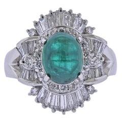 2.47 Carat Emerald Cabochon Diamond Platinum Ring