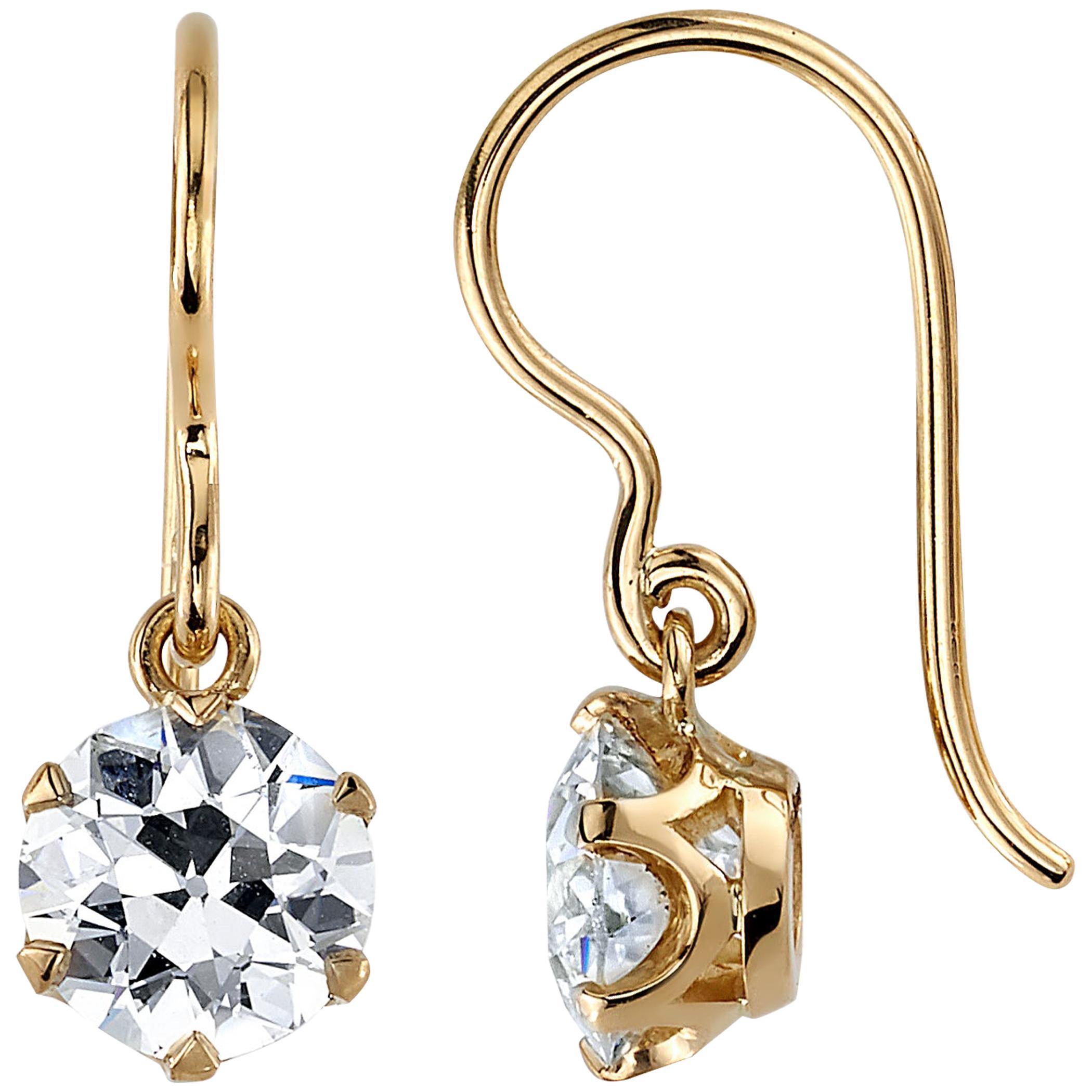 Handcrafted Gia Old European Cut Diamond Drop Earrings by Single Stone