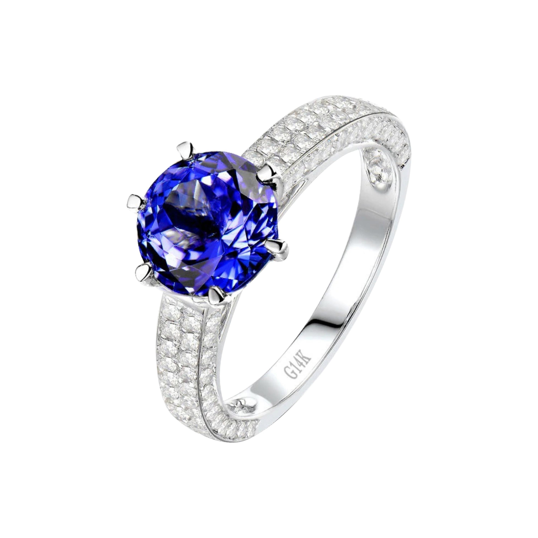 2.47 Carat Tanzanite Diamond Ring 14 Karat White Gold