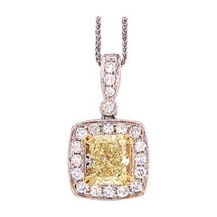 2.47 Ct Fancy Yellow Radiant Cut Diamond Halo Pendant, 18k White Gold with Chain