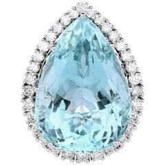 24.70 Carat Aquamarine and Diamond 14 Karat White Gold Cocktail Ring