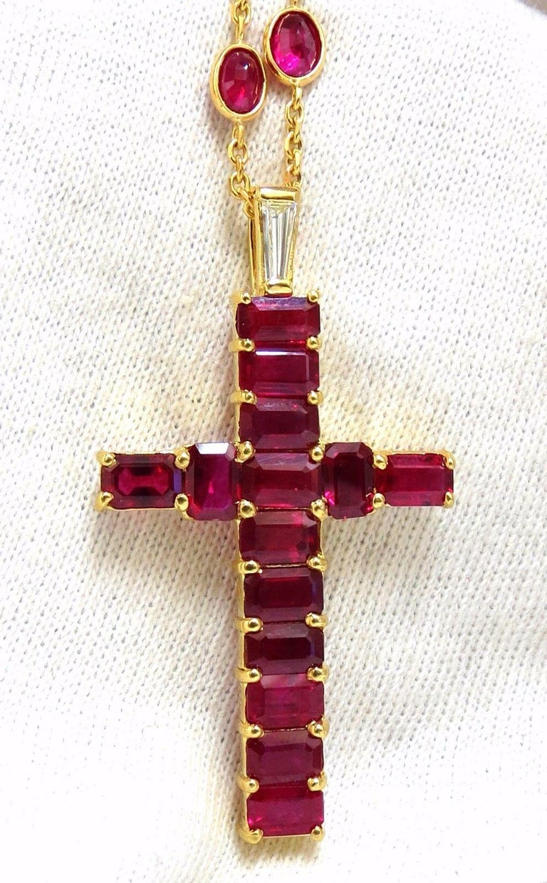 Rosary Novena Reds.  24.50ct. Natural Ruby Cross necklace.  Cross consists of 9.50ct emerald cut rubies.  14 count  Average each: 6 x 4mm  Vs-2 clarity.  Rubies on Necklace: 3.5 X 5.5mm.  30 Count.  All Rubies of vivid red colors, full cuts.  Clean