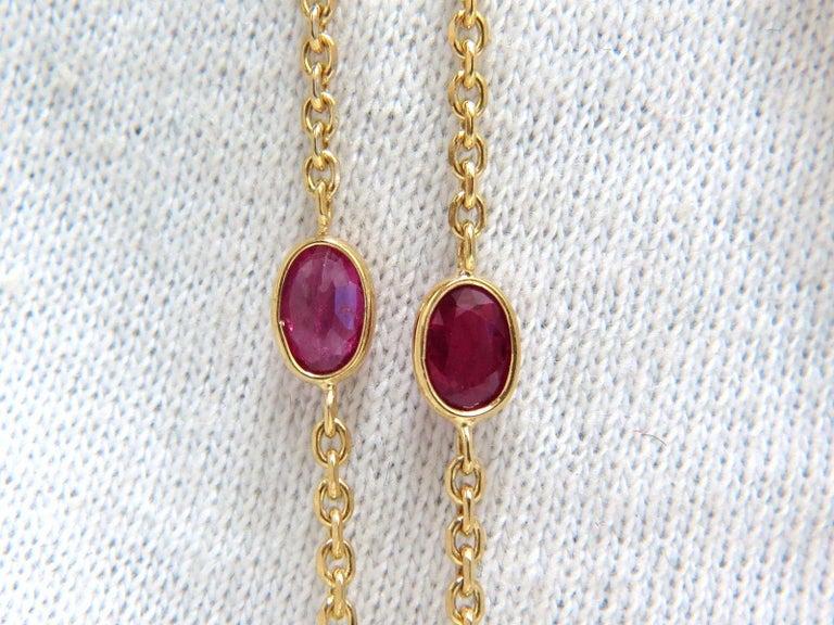 Emerald Cut 24.70 Carat Natural Ruby Cross Necklace and Yard 18 Karat Rosary Prayer Novena For Sale
