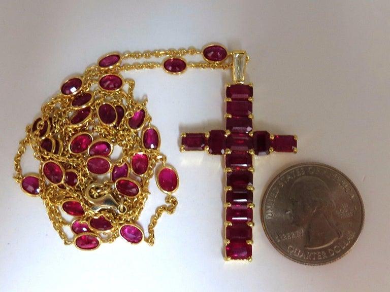 Women's or Men's 24.70 Carat Natural Ruby Cross Necklace and Yard 18 Karat Rosary Prayer Novena For Sale