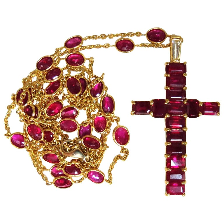 24.70 Carat Natural Ruby Cross Necklace and Yard 18 Karat Rosary Prayer Novena For Sale