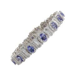 24.70 Carat Tanzanite 18 Karat White Gold Diamond Bracelet