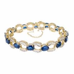 24.74 Carat Oval Sapphire Baguette Diamond Gold U Link Bracelet