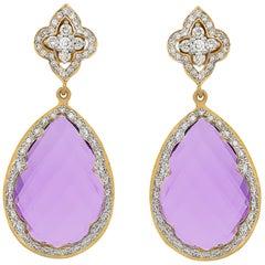 24.77 Carat Amethyst Diamond 18 Karat Yellow Gold Drop Earrings