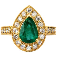 2.47ct Natural Pear Brilliant Emerald diamond ring 14kt G/Vs classic halo bead