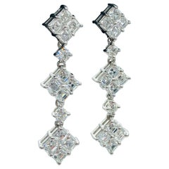 Conflict Free 2.48 carat Asscher Cut Diamond Drop Earrings