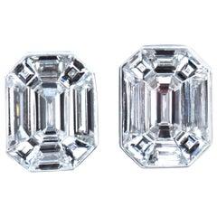 2.48 Carat Baguette and Emerald Cut Diamond White Gold Optical Illusion Earrings