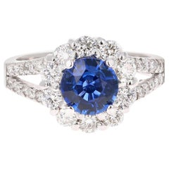 2.48 Carat Blue Sapphire Diamond 18 Karat White Gold Ring