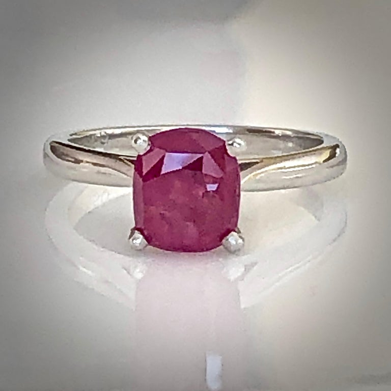 2.48 Carat Certified Untreated Ruby Engagement Solitaire Ring Platinum For Sale 5