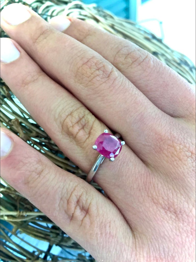Cushion Cut 2.48 Carat Certified Untreated Ruby Engagement Solitaire Ring Platinum For Sale
