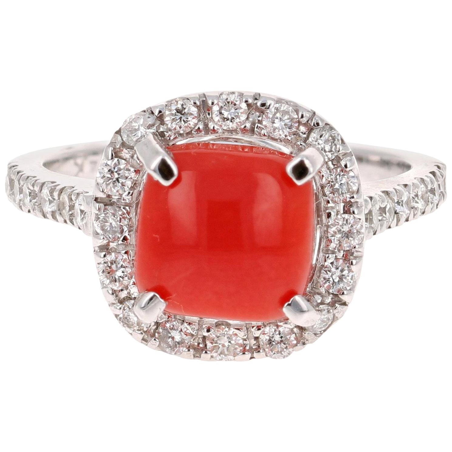 2.48 Carat Coral and Diamond White Gold Bridal Ring