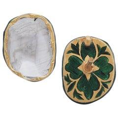 2.48 Carat Diamond Earrings Handcrafted in 18K Gold with Intricate Enamel Work