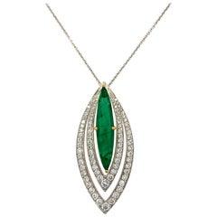 2.48 Carat Emerald and Diamond Pendant Necklace
