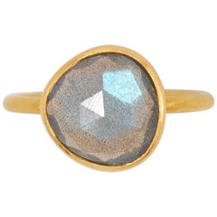 2.48 Carat Labradorite Rose Cut Faceted 22 Karat Gold Ring