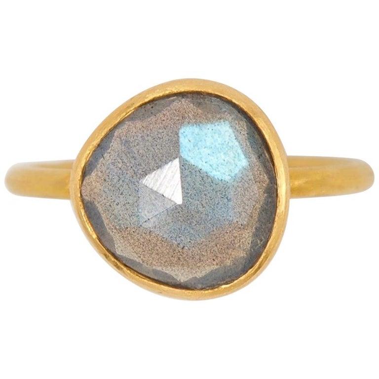 2.48 Carat Labradorite Rose Cut Faceted 22 Karat Gold Ring For Sale