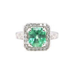2.48 Carat, Natural, Colombian Emerald and Diamond Ring Set in Platinum