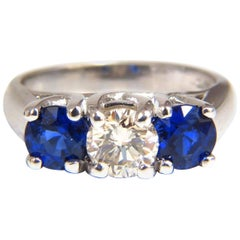 2.48 Carat Natural Sapphires Diamond Three-Stone Ring 14 Karat Royal Blue